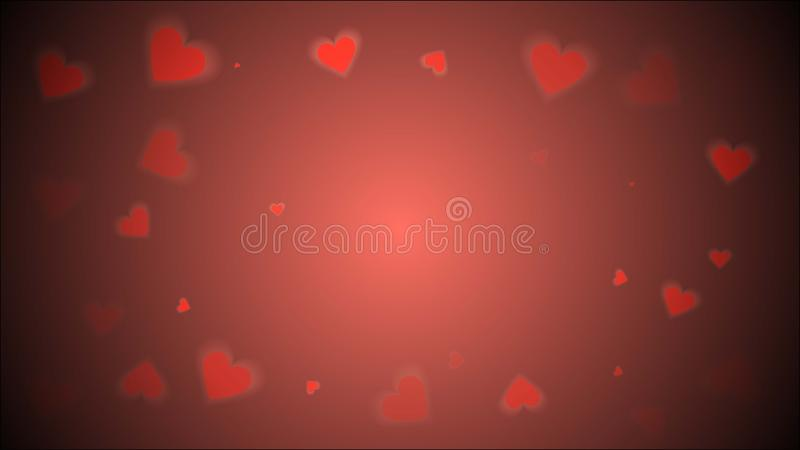 Color of year 2019 Living Coral concept. Abstract beautiful bright transparent textured vintage spring summer red hearts. Background on Valentine`s Day vector stock illustration
