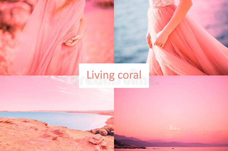 Color of the Year 2019 Living Coral inscription. Beautiful collage of eight photos of the sea, lake, women in a dress royalty free stock photo