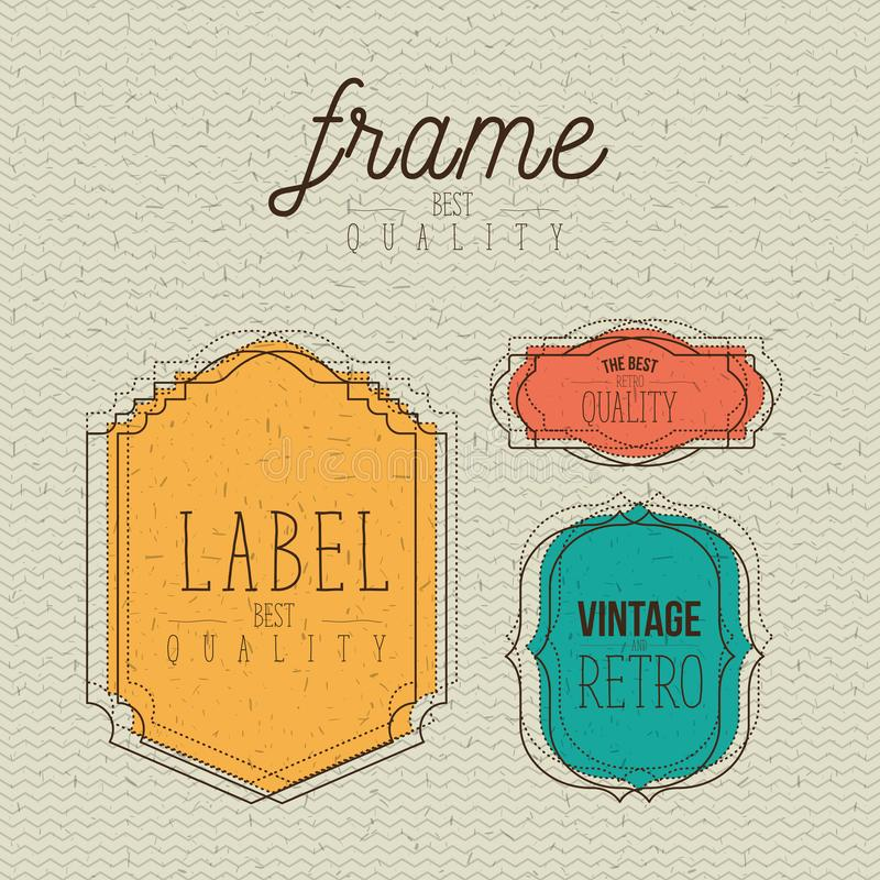 Color zigzag lines background with decorative frame and label set vintage and the best retro quality text royalty free illustration