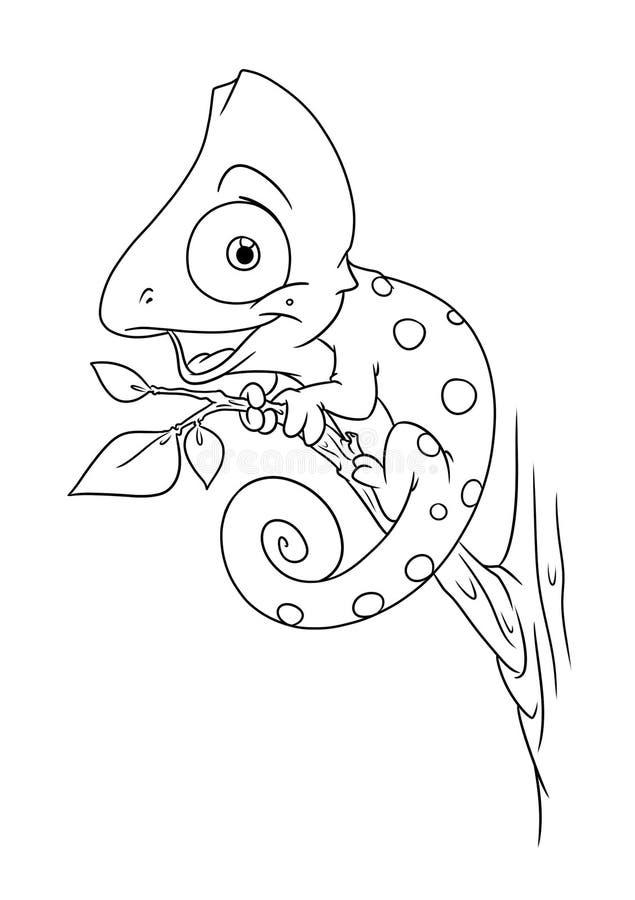 A coloração animal do camaleão pagina desenhos animados ilustração stock