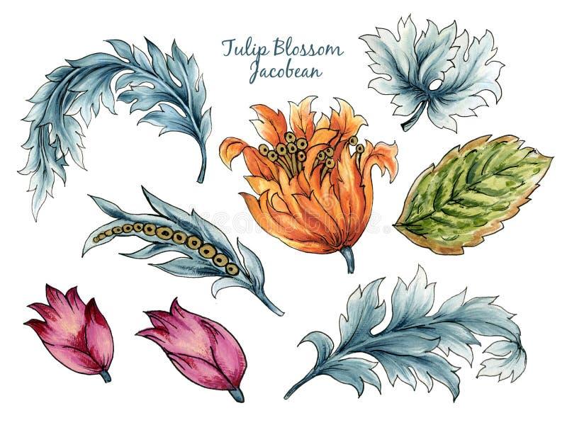 Coloração aquosa da safra Jacobean Paisley Damask Tulips Étnicos folhas de elementos florais para papel de parede, tecido, embala ilustração royalty free