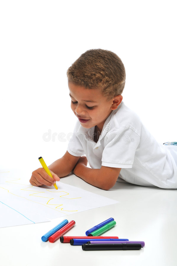 Coloração Biracial do menino imagem de stock royalty free