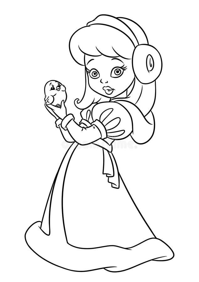 A coloração da beleza do revestimento do inverno da menina pagina desenhos animados ilustração stock