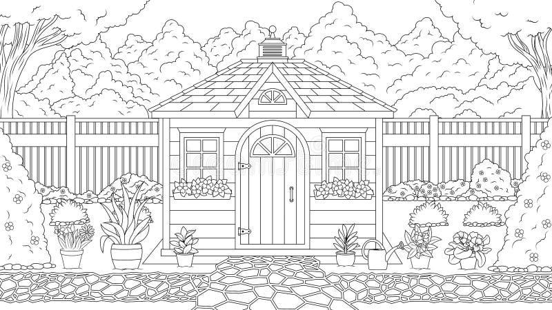 Coloração da casa do jardim ilustração stock