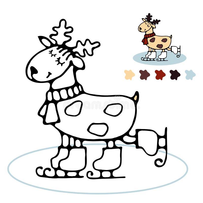 Coloração de patinagem da rena alegre para crianças ilustração do vetor