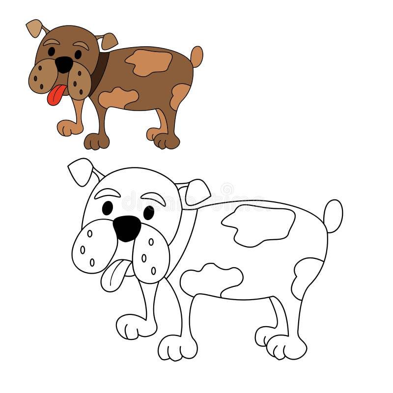 Coloração do buldogue do cão ilustração do vetor