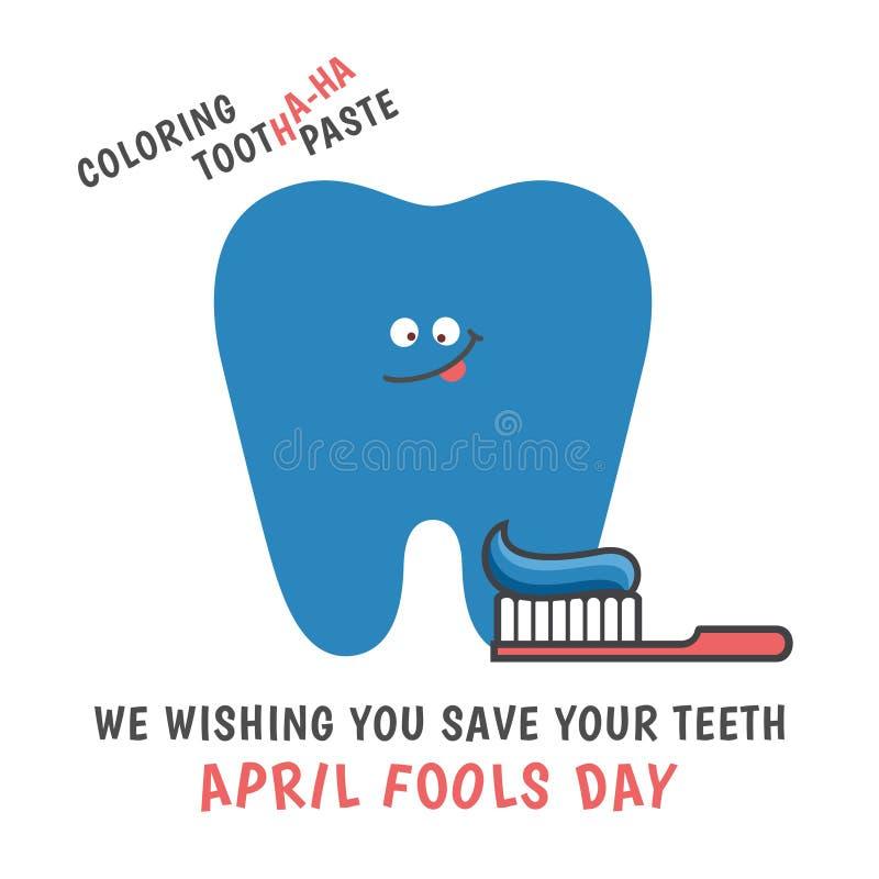 Coloração do dente dos desenhos animados na cor azul Dia de tolos de abril ilustração royalty free