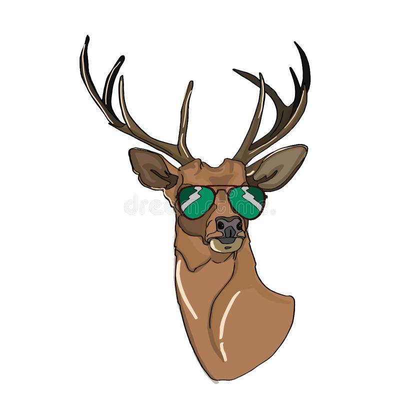 Coloração do desenho dos desenhos animados da ilustração da cabeça dos cervos e do balão dos óculos de sol e do pensamento ilustração do vetor