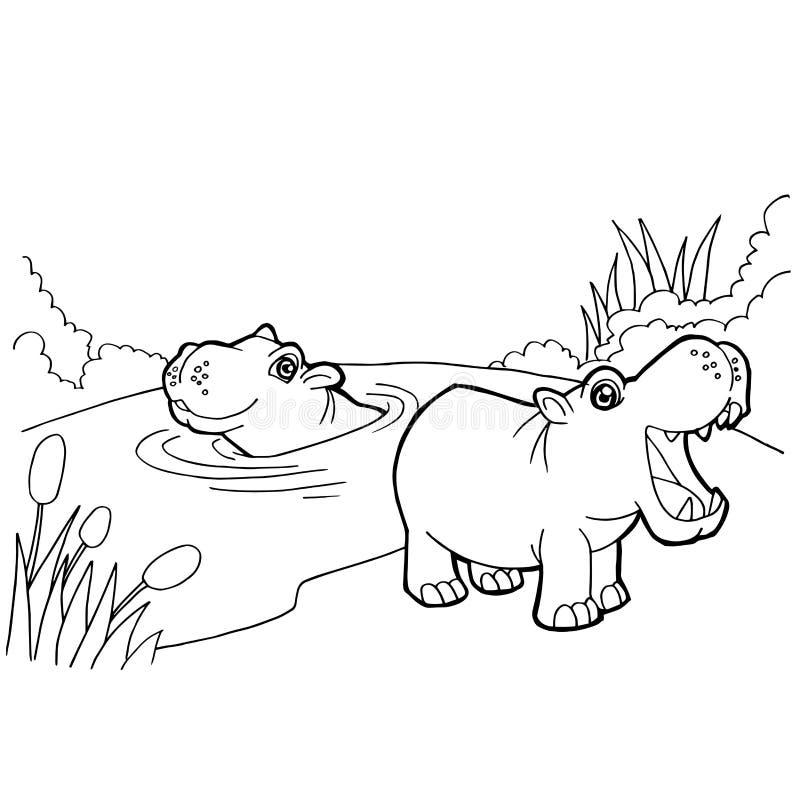 A coloração dos desenhos animados do hipopótamo pagina o vetor ilustração royalty free