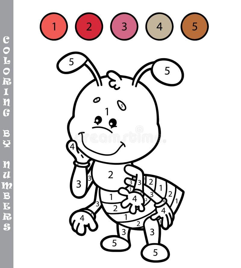 Coloração engraçada pelo jogo de números ilustração do vetor