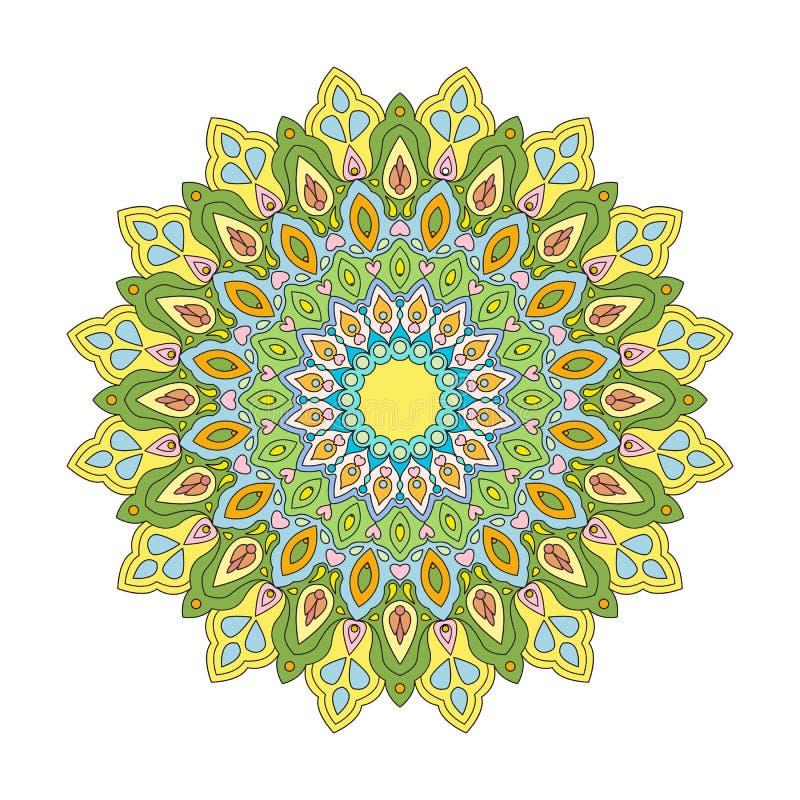 Coloração Mandala Yellow-Green fotos de stock