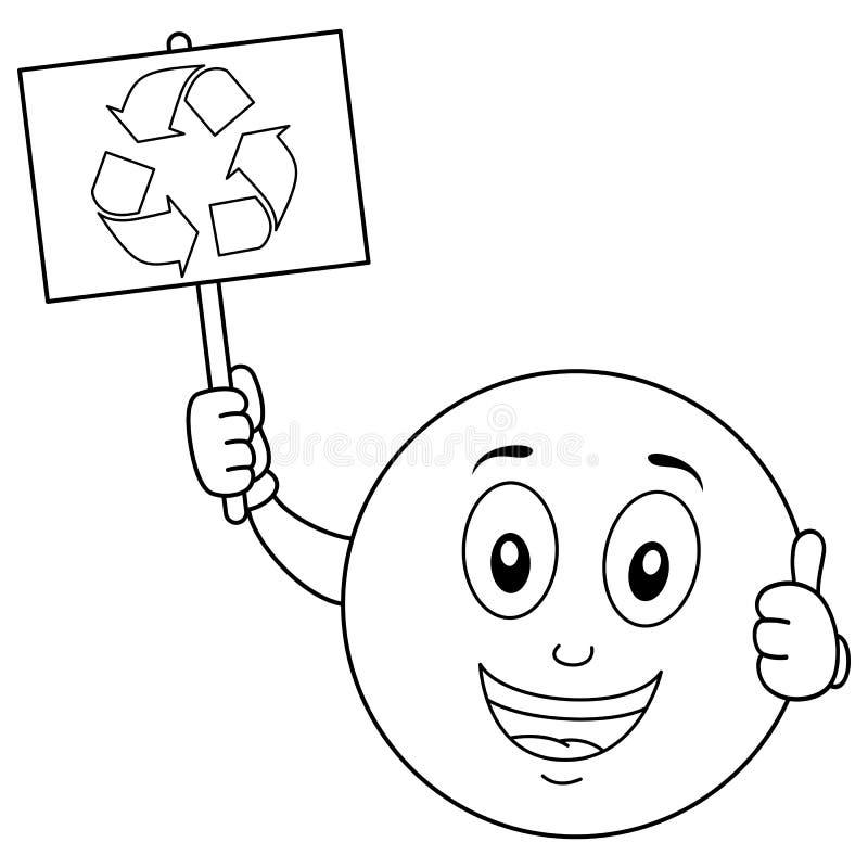 A coloração Smiley Character com recicla o sinal ilustração stock