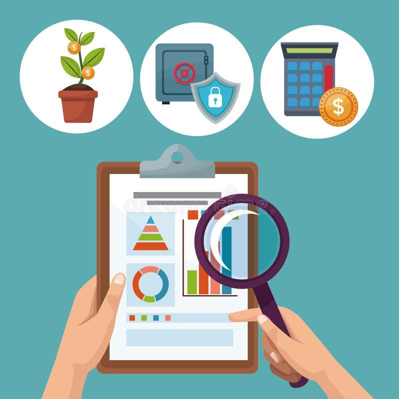 Colora ícones do investimento da analítica do fundo e entregue guardar estatísticas de uma folha da tabela ilustração royalty free