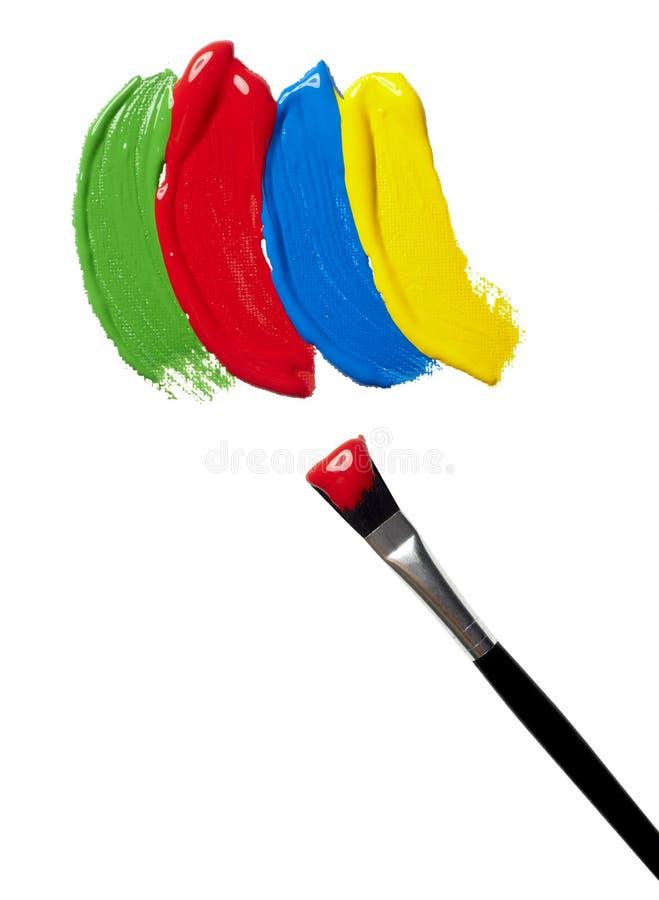 Colora a arte da escova de pintura do petróleo dos cursos imagens de stock royalty free