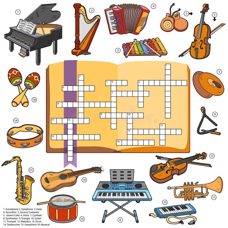 Colora as palavras cruzadas, jogo para crianças sobre instrumentos de música ilustração stock