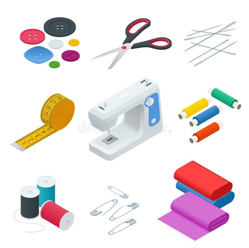 Colora bandeiras dos objetos para costurar, artesanato Ferramentas da costura e jogo de costura, equipamento da costura, agulha,  ilustração stock