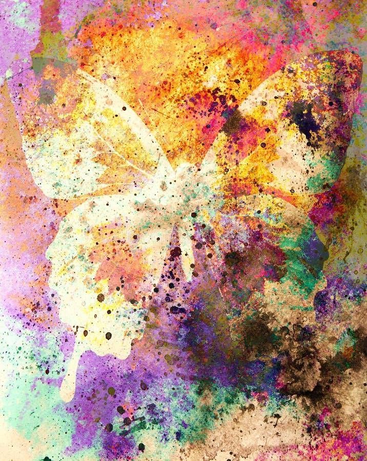 Colora a borboleta, a ilustração e meio misturado, fundo abstrato, efeito da oxidação do vintage ilustração stock