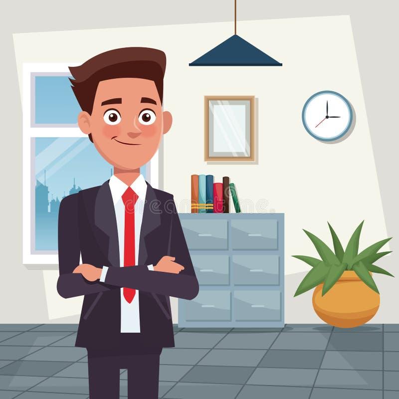 Colora caráteres do homem novo do corpo do escritório do local de trabalho do fundo meios para o negócio com terno formal ilustração stock