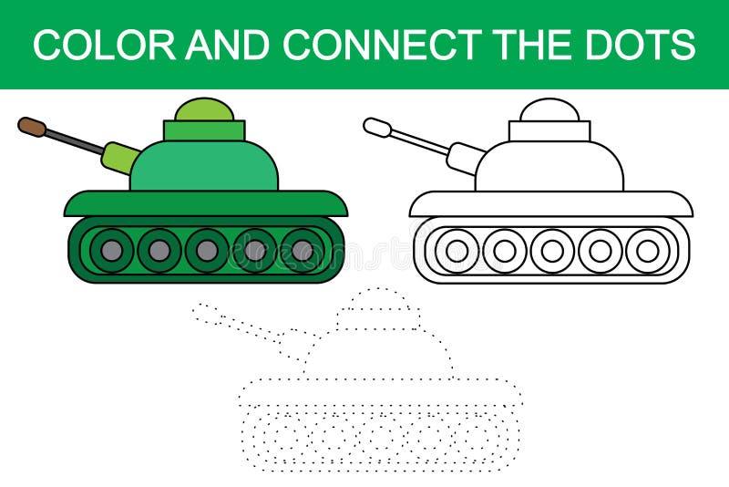 Colora e conecte os pontos da imagem do transporte do tanque dos desenhos animados ilustração do vetor