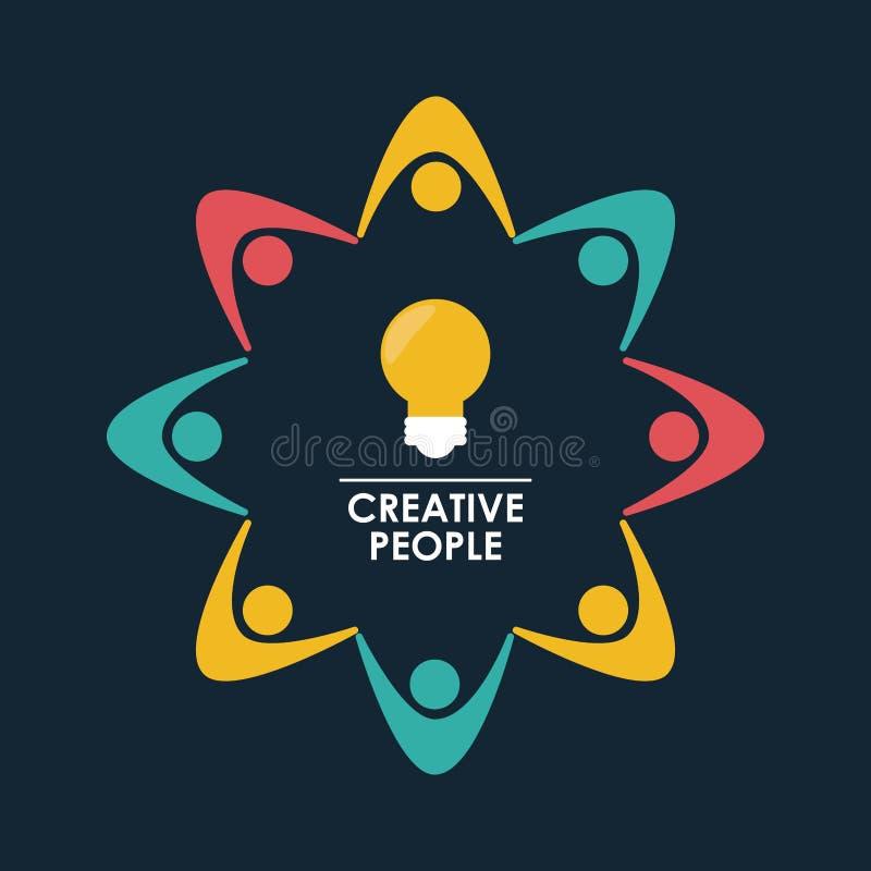 Colora a figura de fundo sumário humano em torno dos povos criativos da ampola ilustração royalty free