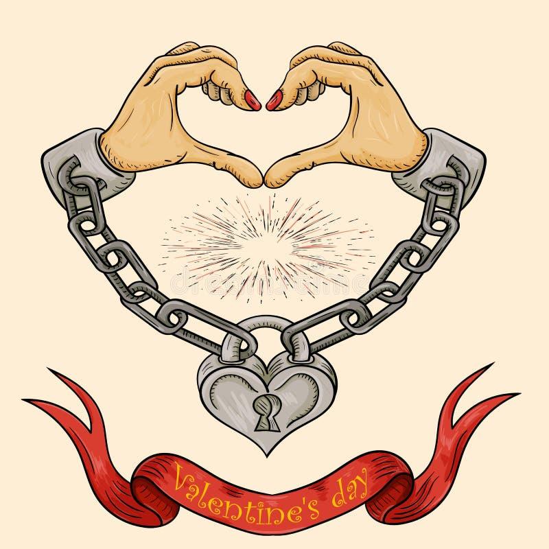 Colora a ilustração das mãos do tema do dia de Valentim sob a forma de um coração shackled com correntes e fechou-se em um cadead ilustração stock