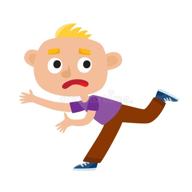 Colora a ilustração do vetor de um menino triste que corre do medo ilustração royalty free
