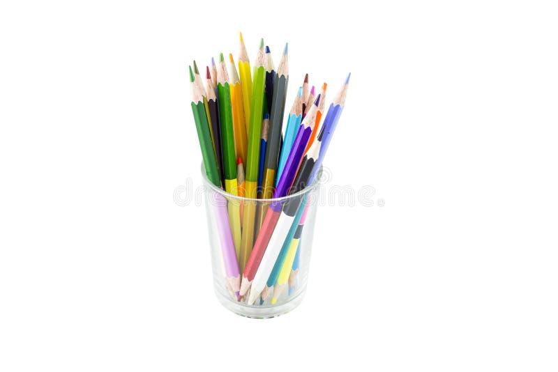 Colora lápis isolados no fim branco do fundo acima imagens de stock