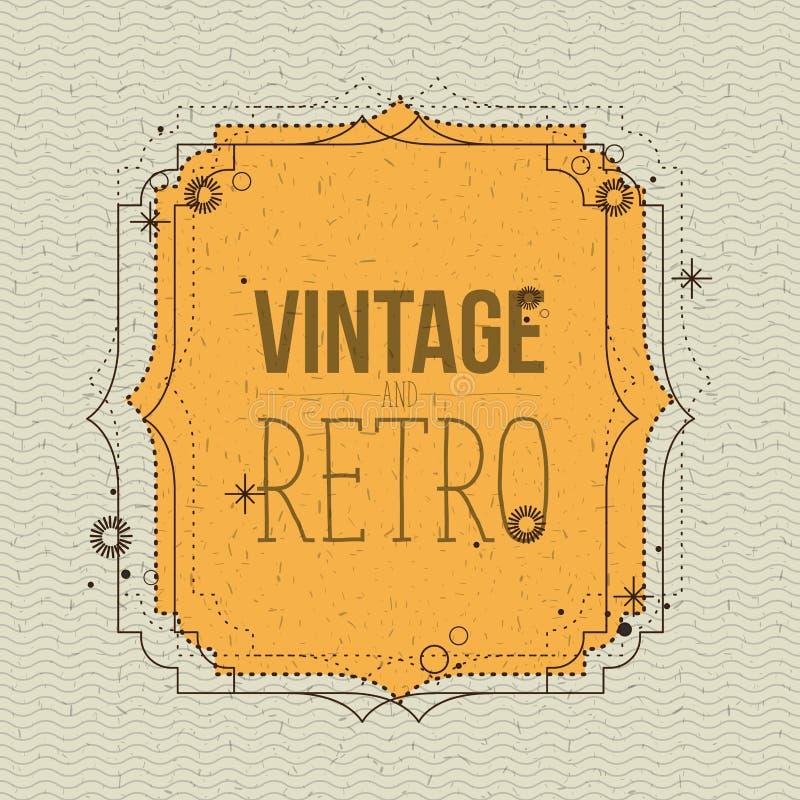 Colora linhas fundo do ziguezague com vintage decorativo amarelo do quadro e texto retro ilustração stock