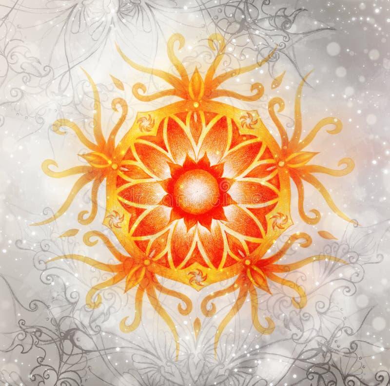Colora a mandala decorativa e o fundo levemente borrado da aquarela Chakra sacral ilustração royalty free
