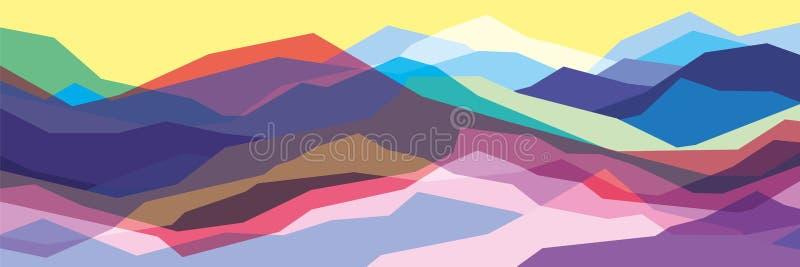 Colora montanhas, ondas translúcidas, formas de vidro abstratas, fundo moderno, ilustração do projeto do vetor para você projetam ilustração do vetor