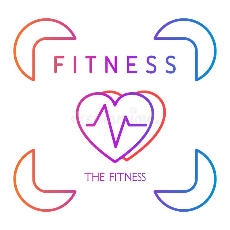 Colora o ícone do coração com cardiograma no quadro Ícone para a aptidão do esporte da saúde Vetor ilustração do vetor