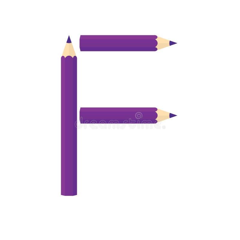 Colora o conceito de madeira dos lápis Rearrange as letras F ilustração do vetor