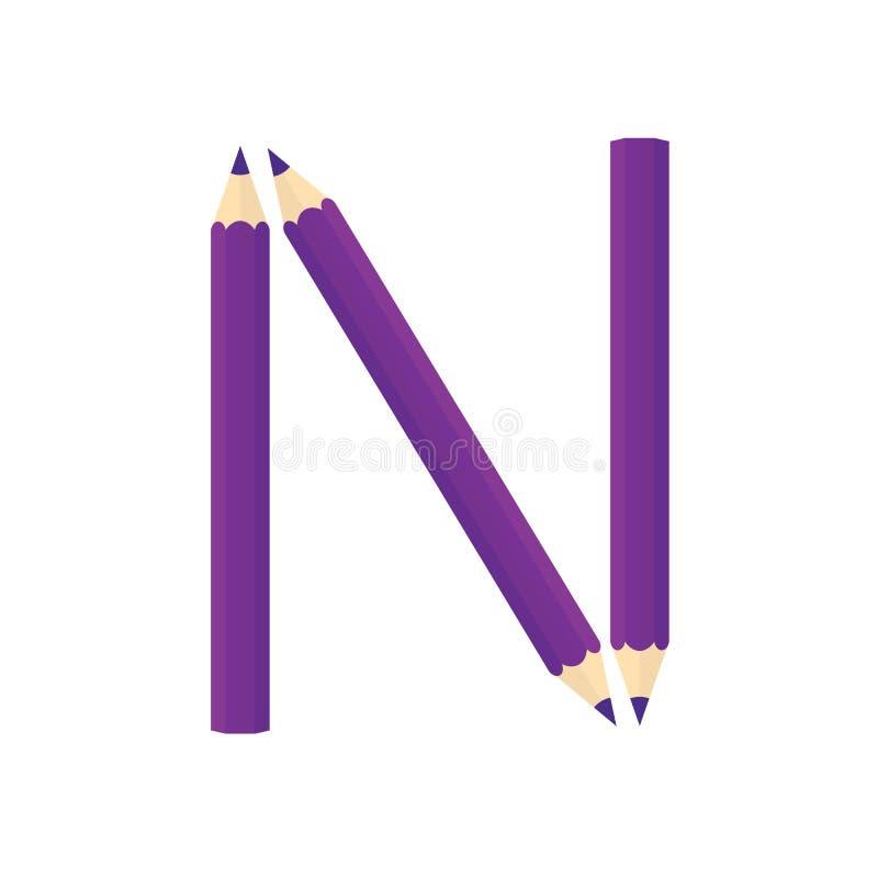 Colora o conceito de madeira dos lápis Rearrange as letras N ilustração do vetor