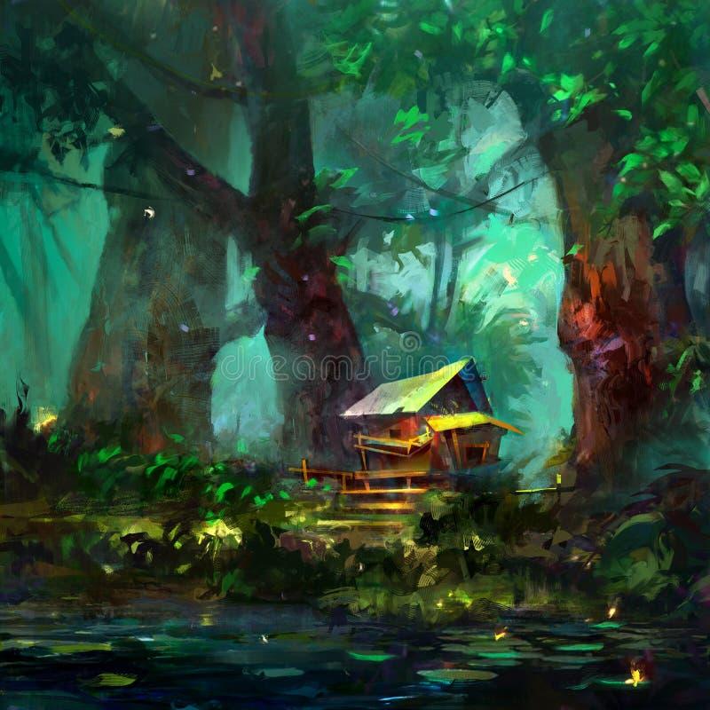 Colora o desenho de uma casa dos desenhos animados na floresta perto do lago ilustração do vetor