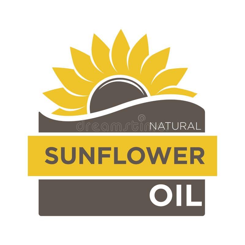 Colora o emblema do óleo de girassol natural com helianthus amarelo ilustração stock