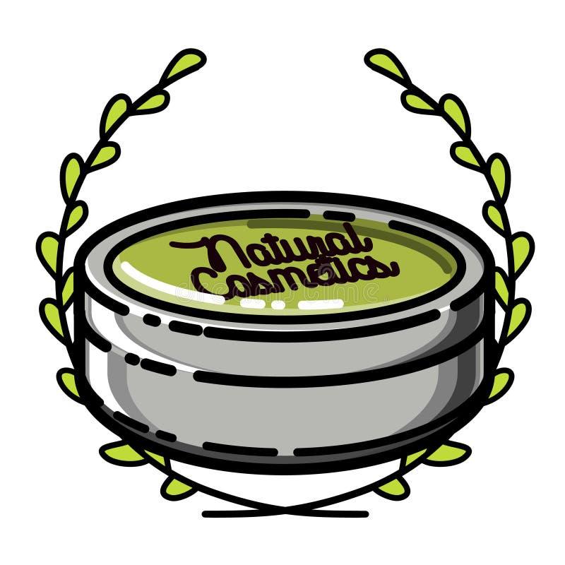 Colora o emblema natural dos cosméticos do vintage ilustração stock