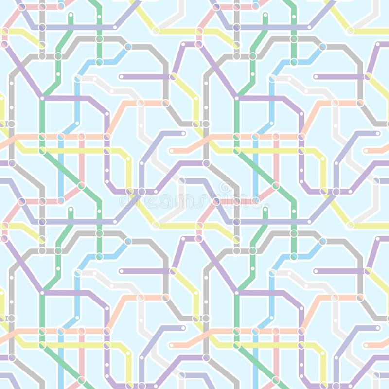 Colora o esquema do transporte railway do metro no fundo azul Abstrac ilustração royalty free