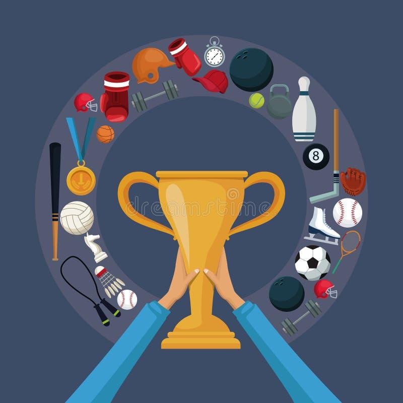 Colora o fundo com as mãos que guardam um copo dourado do troféu com beira circular ao redor com esporte dos elementos dos ícones ilustração do vetor