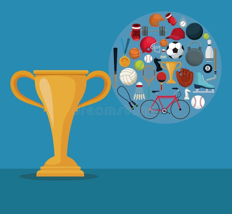 Colora o fundo com o troféu do copo dourado e os ícones de esportes dos elementos no quadro circular ilustração do vetor
