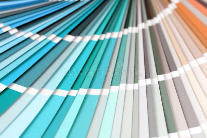 Colora o fundo completo do quadro das amostras de folha à escolha uma cor foto de stock