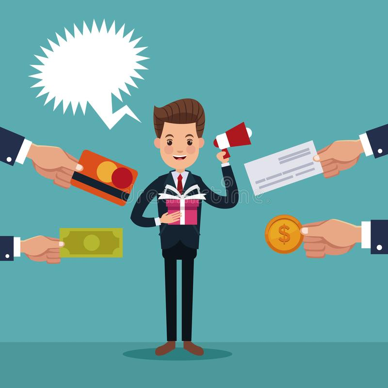 Colora o fundo do homem executivo com o presente e o megafone e as mãos que guardam um pagamento dos artigos ilustração royalty free