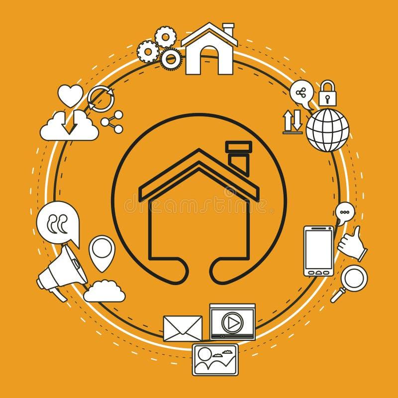 Colora o fundo do quadro circular de ícones do Internet da parte da tecnologia e de forma da casa da silhueta do close up ilustração do vetor