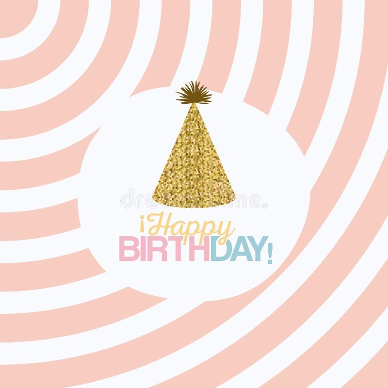 Colora o fundo pastel com linhas e feliz aniversario do chapéu do partido ilustração royalty free
