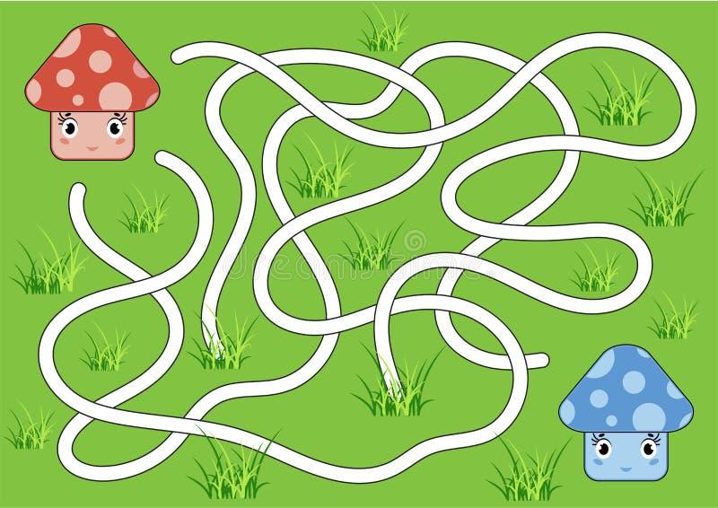 Colora o labirinto abstrato Ajude o cogumelo vermelho a alcançar o cogumelo azul Caçoa folhas Página da atividade Enigma do jogo  ilustração do vetor