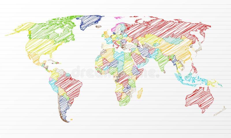 Colora o mapa de mundo político do desenho ilustração royalty free