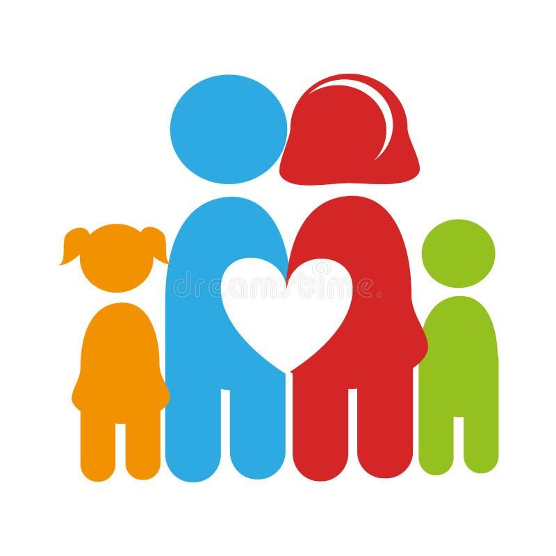 Colora o pictograma com família e coração entre eles ilustração royalty free