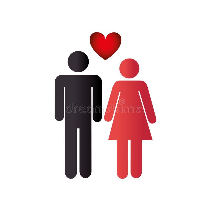 Colora o pictograma com pares e o coração entre eles ilustração royalty free