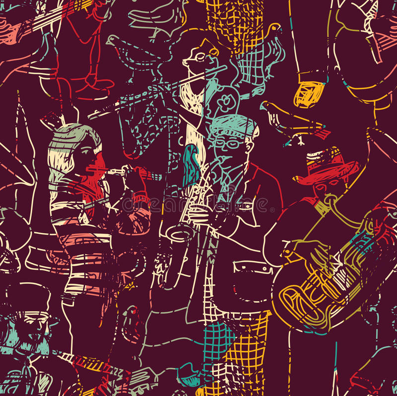 Colora o teste padrão sem emenda da banda de jazz da música ilustração royalty free
