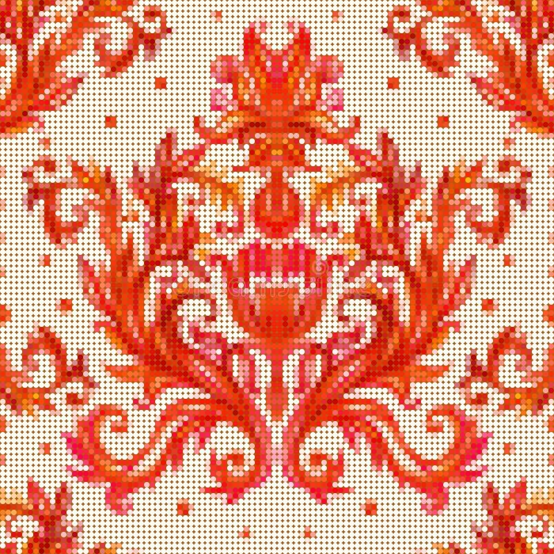 Colora o teste padrão sem emenda do vetor com as flores com embr tradicional ilustração royalty free