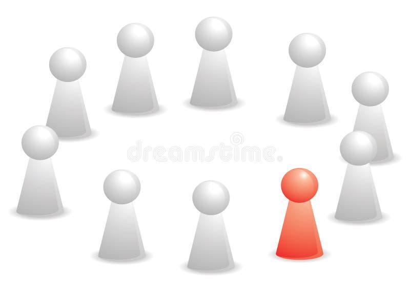 Colora o vermelho do grupo um no círculo ilustração stock